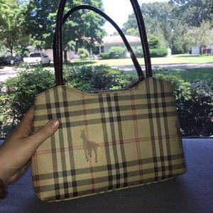 Handbags - Tan and maroon plaid bag with equestrian detail